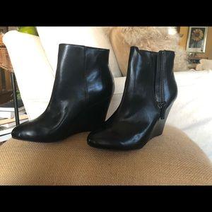 LOFT wedge heel bootie. Genuine black leather